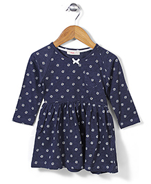 Fox Baby Full Sleeves Floral Print Frock - Navy Blue