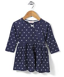 Fox Baby Full Sleeves Floral Print Frock - Navy Blue