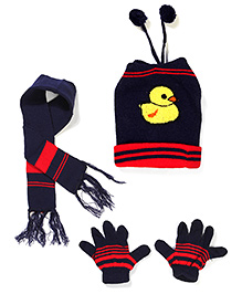 Babyhug Cap Gloves And Muffler Set Duck Design - Navy Blue