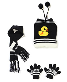 Babyhug Cap Gloves And Muffler Set Duck Design - Black