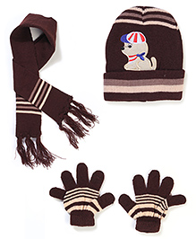 Babyhug Cap Gloves And Muffler Set Puppy Embroidery - Brown