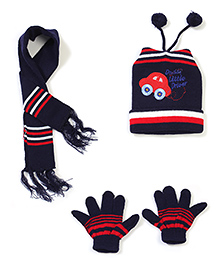 Babyhug Cap Gloves And Muffler Set Car Embroidery - Navy Blue
