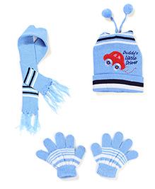 Babyhug Cap Gloves And Muffler Set Car Embroidery - Blue
