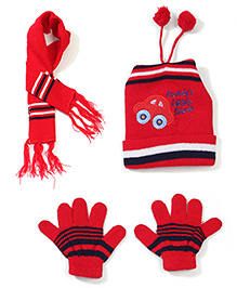 Babyhug Cap Gloves And Muffler Set Car Embroidery - Red