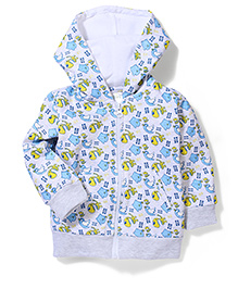 Babyhug Hooded Jacket Dinosaur Print - Off White