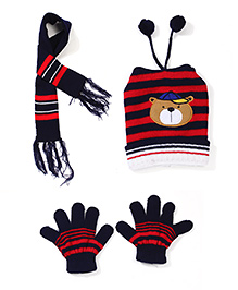 Babyhug Cap Gloves And Muffler Set Bear Embroidery - Navy Blue Red