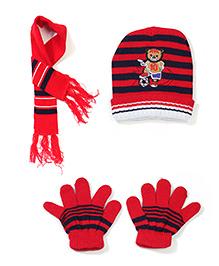 Babyhug Cap Gloves And Muffler Set Bear Embroidery - Red Blue