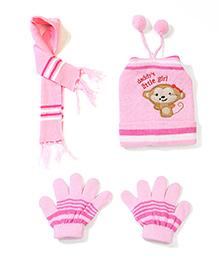 Babyhug Cap Gloves And Muffler Set Monkey Embroidery - Light Pink
