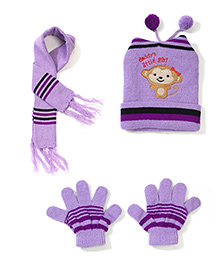Babyhug Cap Gloves And Muffler Set Monkey Embroidery - Purple