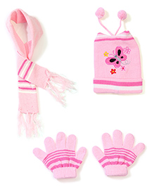 Babyhug Cap Gloves And Muffler Set Butterfly Embroidery - Light Pink