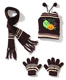 Babyhug Cap Gloves And Muffler Set Mummy Embroidery - Brown