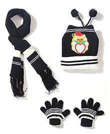 Babyhug Cap Gloves And Muffler Set Santa Claus Embroidery - Black