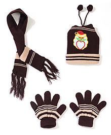 Babyhug Cap Gloves And Muffler Set Santa Claus Embroidery - Brown