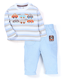 ToffyHouse Striped T-Shirt And Pant Set Embroidery - Blue