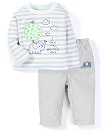 ToffyHouse T-Shirt And Pant Set Tree Patch - Cream