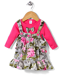 ToffyHouse Frock With Inner Tee Floral Print - Pink Green