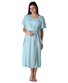 Morph Maternity Printed Nursing Gown - Blue