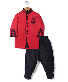 Robo Fry Full Sleeves Indo Western Suit - Red And Black
