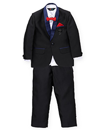 Robo Fry 3 Piece Party Coat Suit With Brooch - Black White