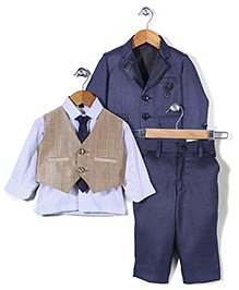Robo Fry Party Suit Shirt Waist Coat And Tie - Blue White