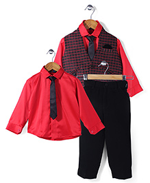 Robo Fry Shirt Waist Coat And Trouser Party Suit - Black Red