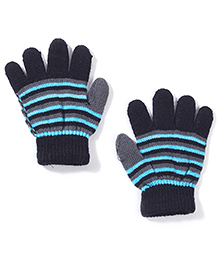 Striped Gloves With Ribbed Cuffs - Black