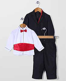 Robo Fry Shirt Coat And Trouser Party Suit - Black White
