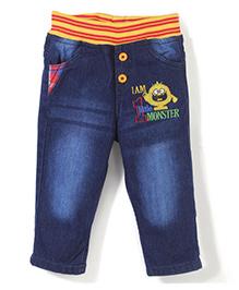 Babyhug Jeans With Elasticated Waist - Dark Blue