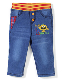 Babyhug Jeans With Elasticated Waist - Blue