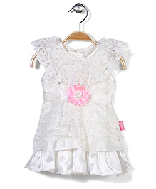 Chocopie Short Sleeves Party Frock Floral Applique - White