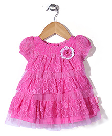 Chocopie Cap Sleeves Party Wear Frock Floral Applique - Pink