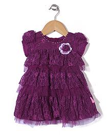 Chocopie Cap Sleeves Party Wear Frock Floral Applique - Purple