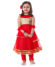 Babyhug Sleeveless Kurti Churidar With Dupatta Sequin Detailing- Red