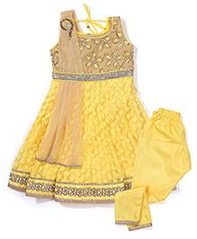 Babyhug Sleeveless Kurti Churidar With Dupatta - Yellow