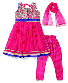 Babyhug Sleeveless Kurta Churidar With Dupatta - Pink