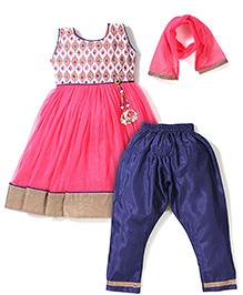 Babyhug Ethnic Kurta With Dangler & Churidar Set - Pink