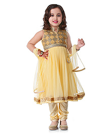 Babyhug Sleeveless Kurti Churidar With Dupatta Sequin Detailing- Light Golden