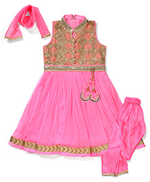 Babyhug Sleeveless Kurti Churidar With Dupatta Sequin Detailing- Pink
