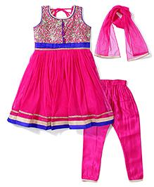 Babyhug Sleeveless Kurta Churidar With Dupatta - Pink