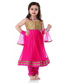 Babyhug Sleeveless Kurta Churidar With Dupatta In Sequins Work - Pink