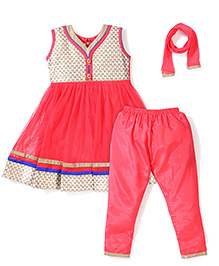 Babyhug Embroidered Kurta & Churidar Set - Tomato Red
