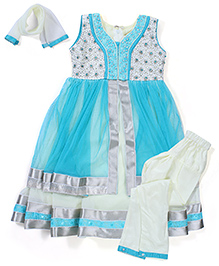 Babyhug Kurti Churidar With Dupatta Sequin Detailing -  Sky Blue