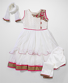 Babyhug Kurti Churidar With Dupatta Sequin Detailing - Off White