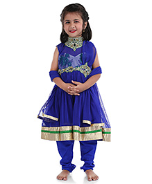 Babyhug Sleeveless Kurti Churidar With Dupatta - Blue