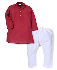 Babyhug Full Sleeves Stripe Kurta And Pajama - Red White