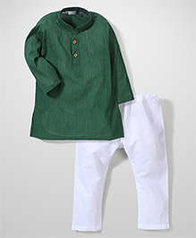 Babyhug Stripe Kurta And Pajama - Green White