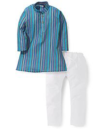 Babyhug Full Sleeves Striped Kurta - Blue