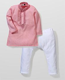 Babyhug Full Sleeves Kurta And Pajama Set - Pink White