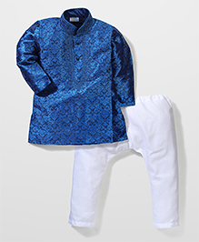 Babyhug Kurta And Pajama Set Self Design - Blue White