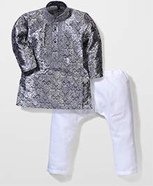 Babyhug Kurta And Pajama Set Self Design - Grey White